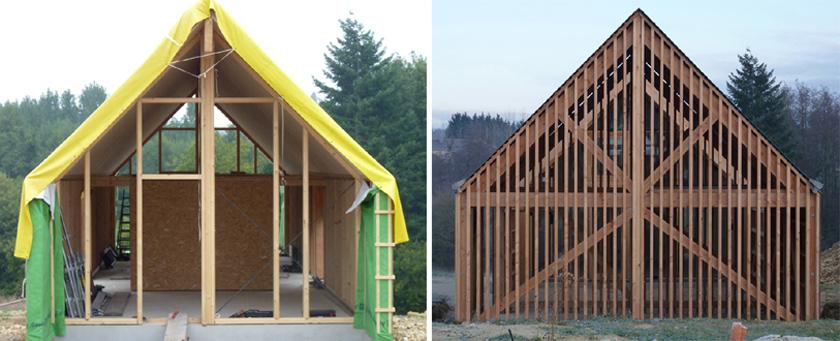 RVL architectes – Grange contemporaine – Pignon avant après