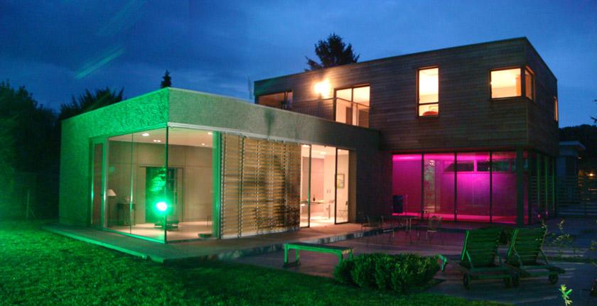 Maison contemporaine - apla sarl architecture - Laure Pettier - Vue de nuit