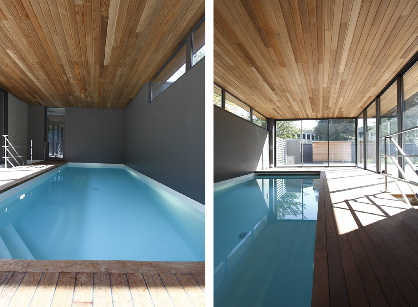 Maison contemporaine avec piscine int rieure apla for Piscine ossature bois