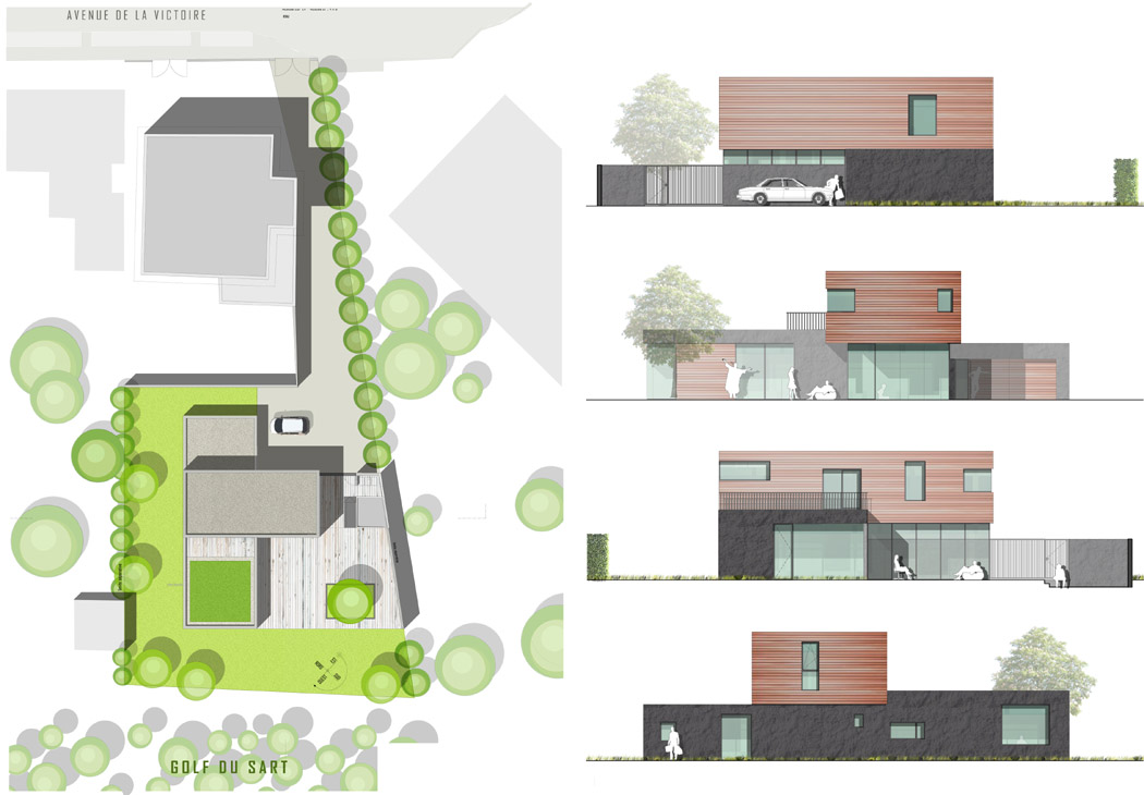 Maison contemporaine à Wasquehal - APLA architectes - Plan de masse - Elévations