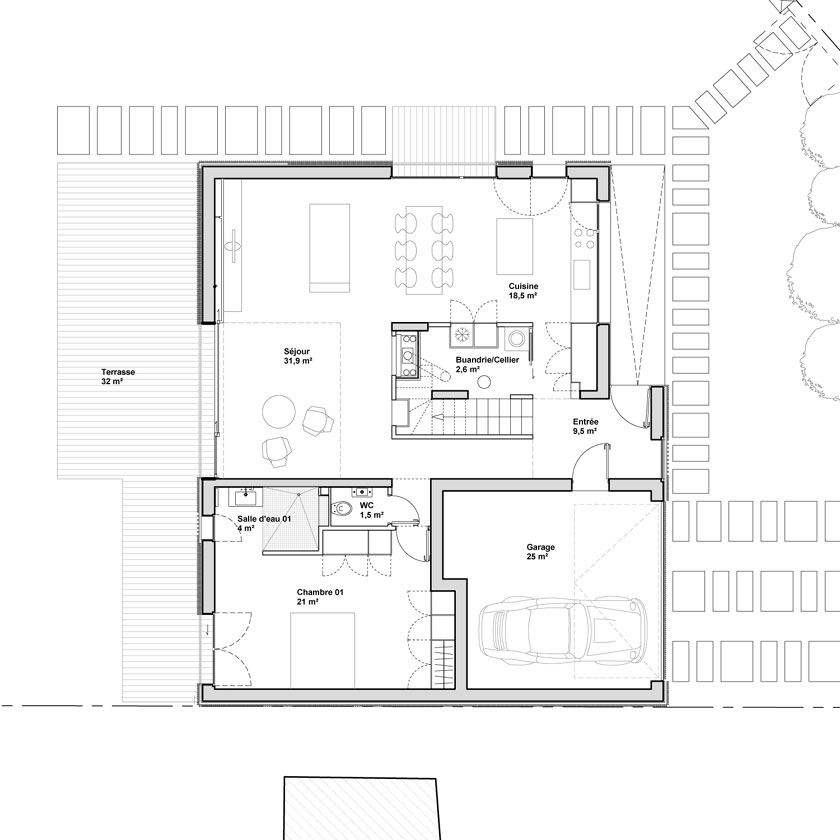 Avenier & Cornejo - Maison 2G - Plan du RDC