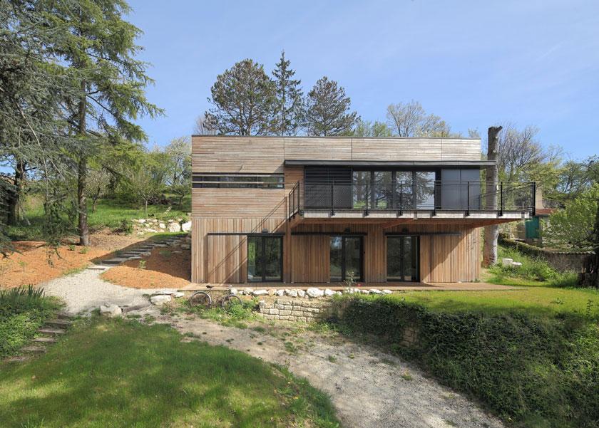 Maison MRZS de face - AAGB Atelier d'architecture Gilles Bertrand