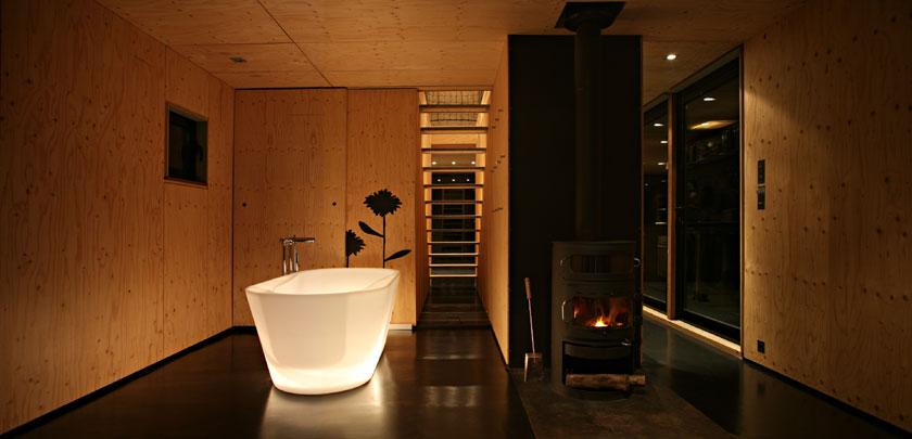 Lode architecture - Maison F - Salle de bains la nuit