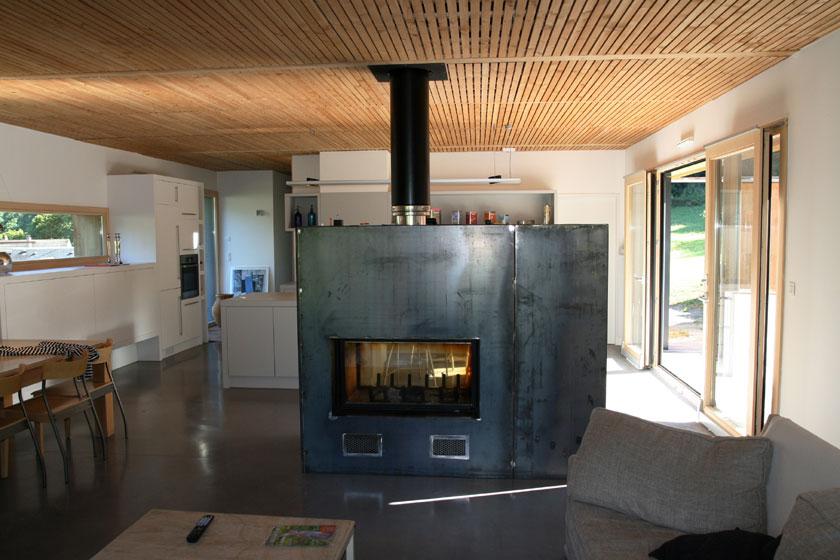 Maison B1 - Prax architectes - Poêle à bois