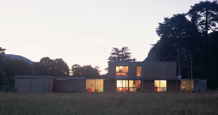 Maison P1 - Prax architectes - Façade de nuit