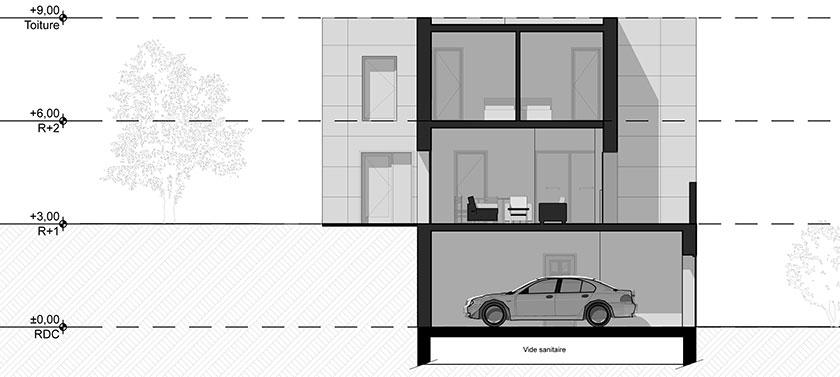 Raphaël Novarina architecte - Coupe sur le projet
