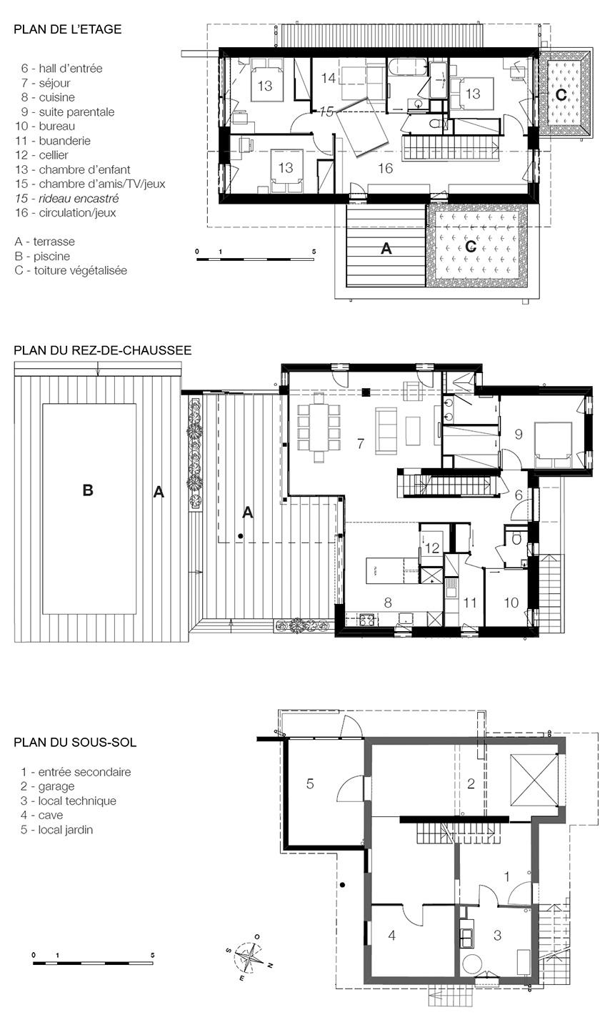 Maisons P - Naud-Passajon-Dejos Architectes - Plans