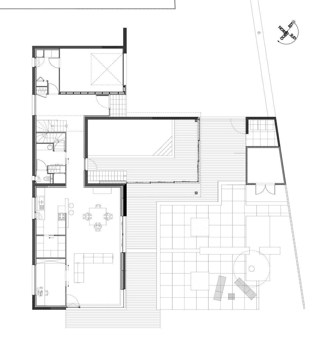 Maison contemporaine à wasquehal apla architectes plan du rez de chaussée
